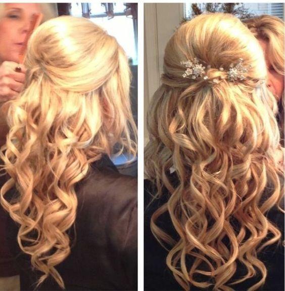 Prom Hair Half Updo Curly With Volume Hair Pinterest Half Hair Styles Half Up Hair Hollywood Hair