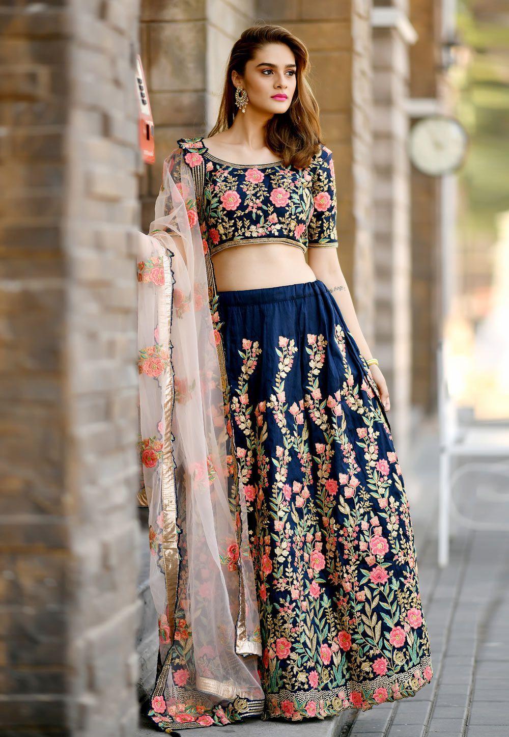Buy navy blue silk indian wedding lehenga choli in uk usa