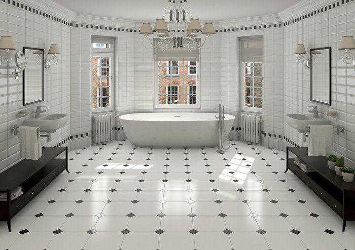 déco salle de bain spacieuse, magnifique idée carrelage salle de bain vintage en blanc, salle de bain luxe
