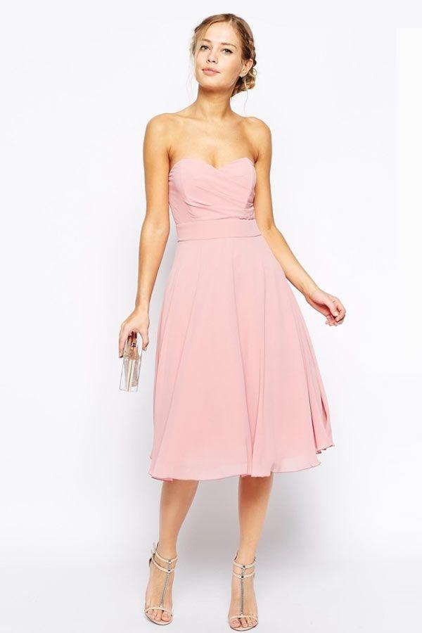 0ff56314a69 Petite robe rose pastel à bustier cœur pour cocktail mariage ...
