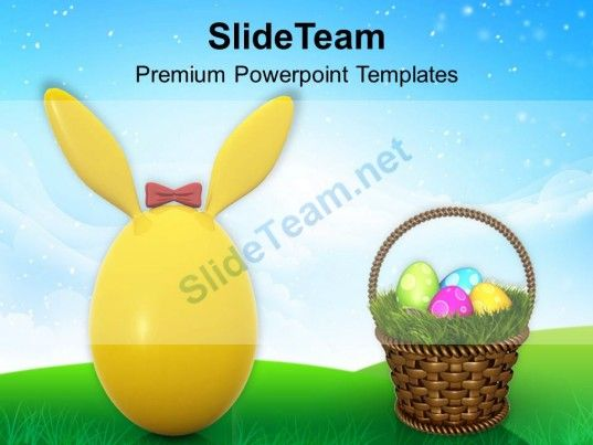 Cute Bunny Egg For Easter Powerpoint Templates Ppt Themes And