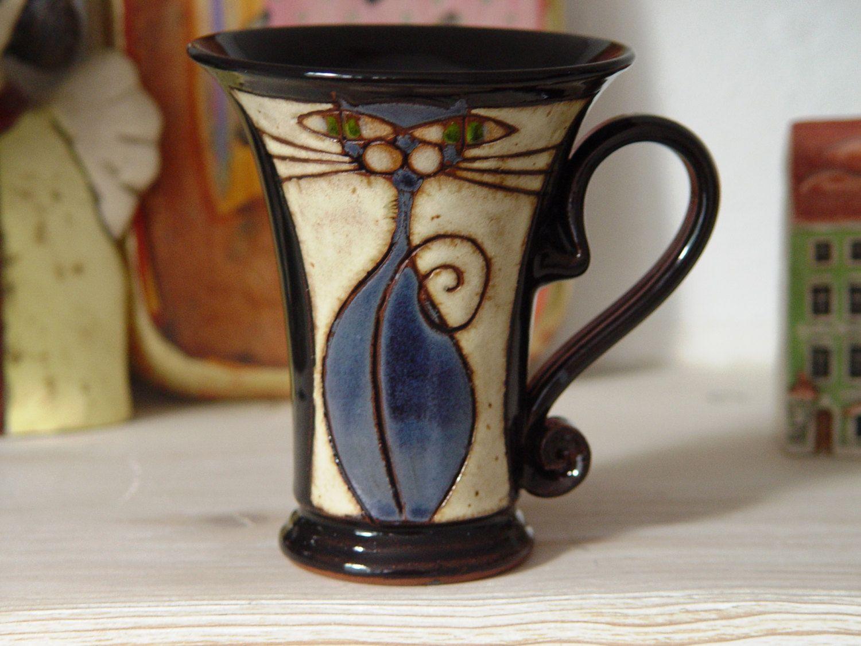 Lustige Becher, handgemachte Katze Becher, Keramik-Becher, künstlerische Keramik-Becher, Rad geworfen Ton Becher, einzigartige Becher, handgefertigte Becher, Hand bemalt Becher