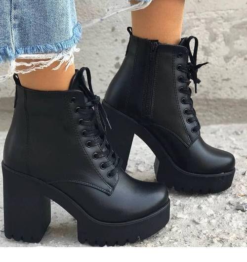 26+ Trendy Fashion Black Winter Heels | Heels, Shoe boots