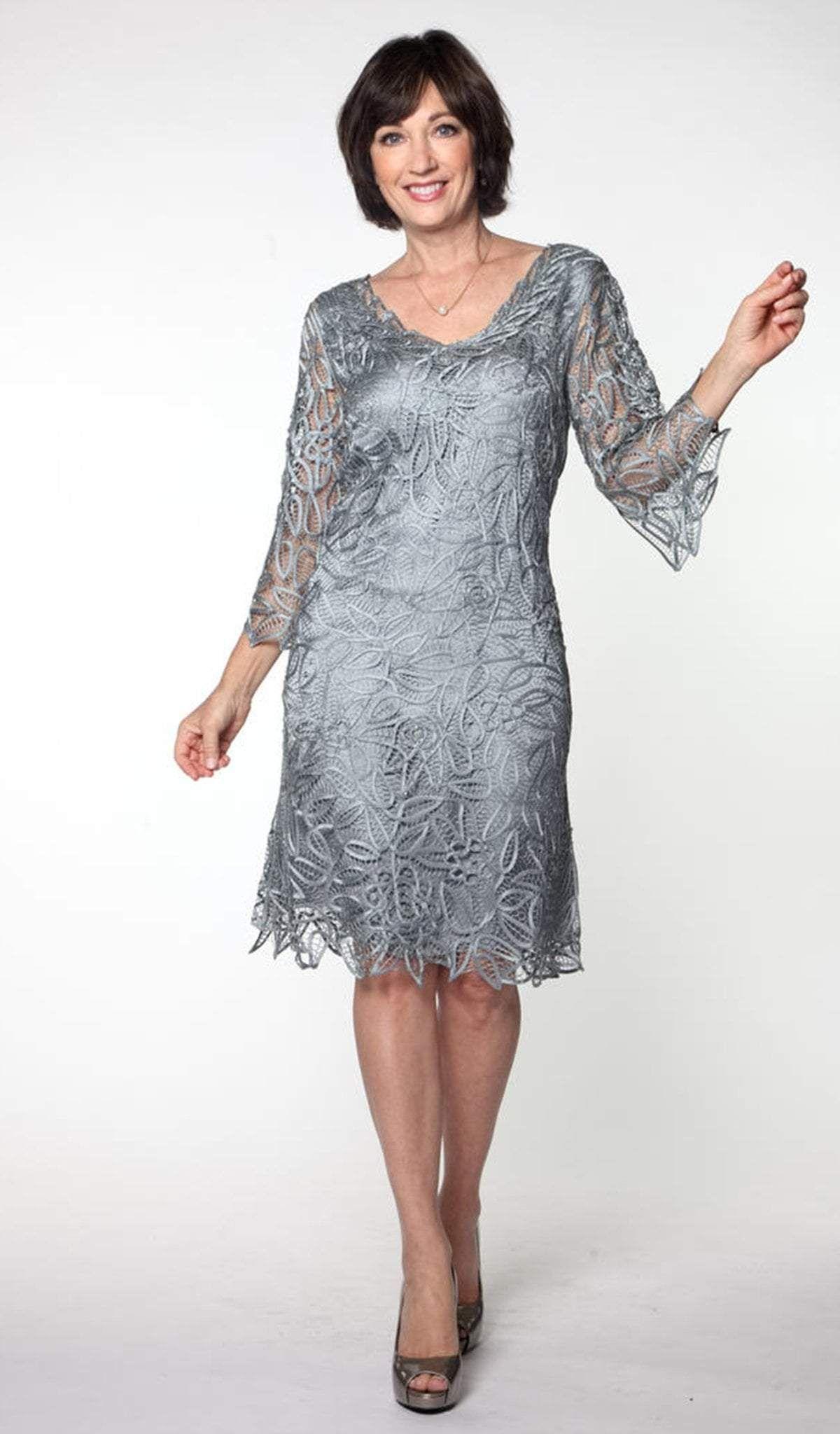 Soulmates C903 Crochet Lace VNeck 3/4 BellSleeve Dress