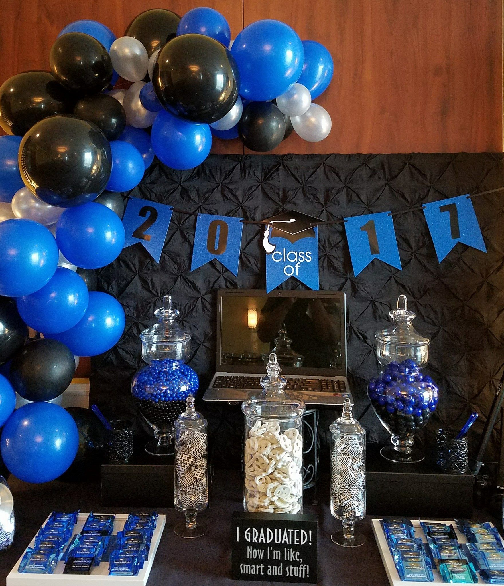 Sweet Treats In Shade Of Blue White And Black Class Of 2017 Blue Graduation Party Black Party Decorations Blue Party Decorations