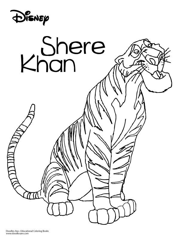 Line Art Jungle : Jungle book coloring sheet shere khan delightful