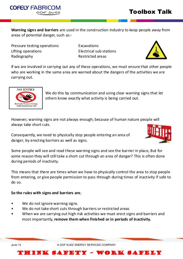 Warning signs barriers tbt | safety talks