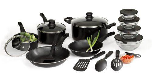 http://yummycakedecorating.com/basic-essentials-17-piece-aluminum-cookware-set-black/ Basic Essentials 17 Piece Aluminum Cookware Set, Black