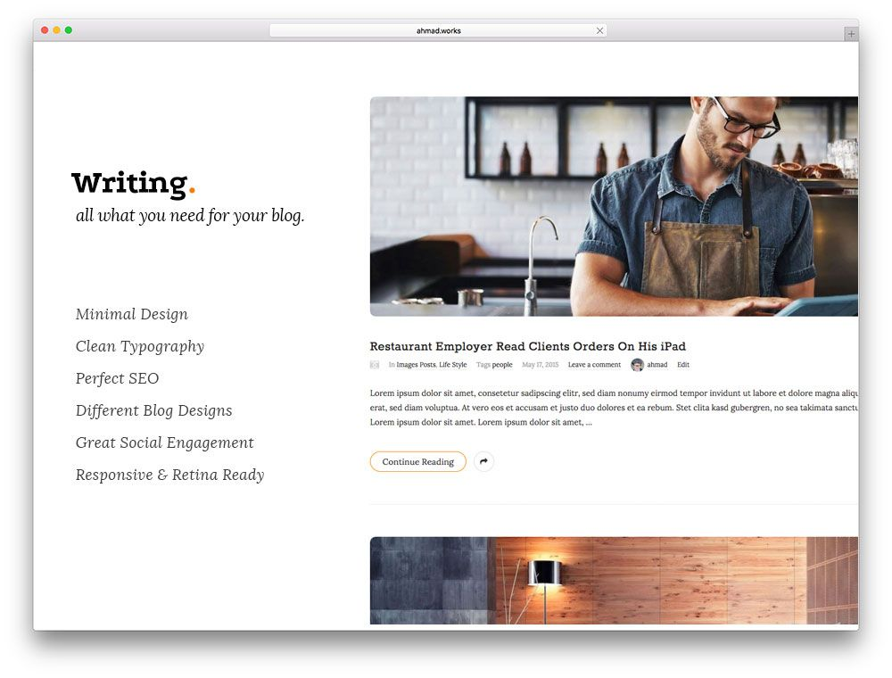 30+ Best Personal Blog WordPress Themes 2017 - Colorlib KoC - wordpress resume template