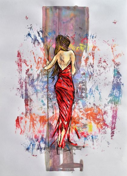 women in red dress acrylic abstract art painting on a2