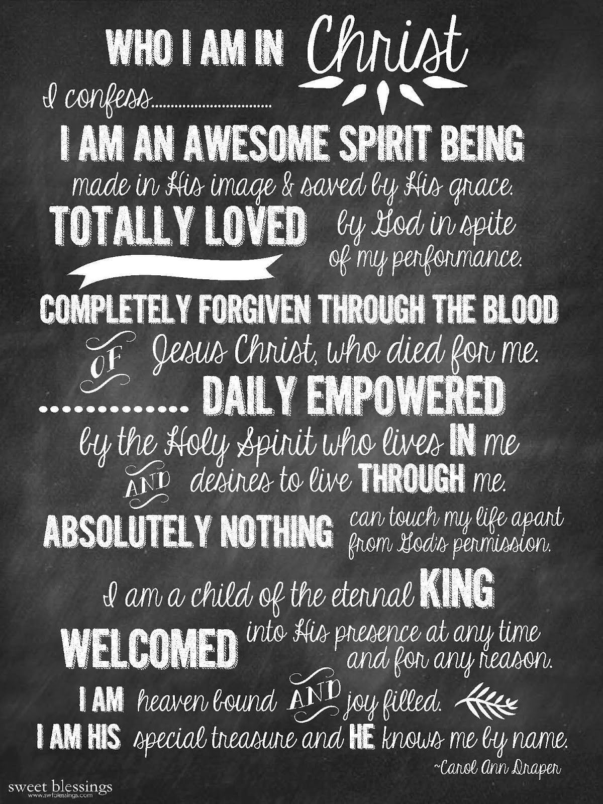 Sweet Blessings Who I am in Christ Free Printable Faith