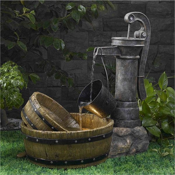 old fashioned water pump wash basin styled fountain