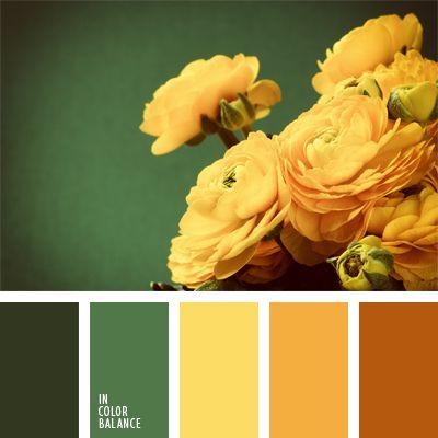 amarillo cálido, amarillo rojizo, anaranjado y verde, color amarillo anaranjado, combinación de colores, elección del color, esmeralda, esmeralda oscuro, matices de color naranja amarillento, selección de colores, tonos amarillos, verde, verde cálido.