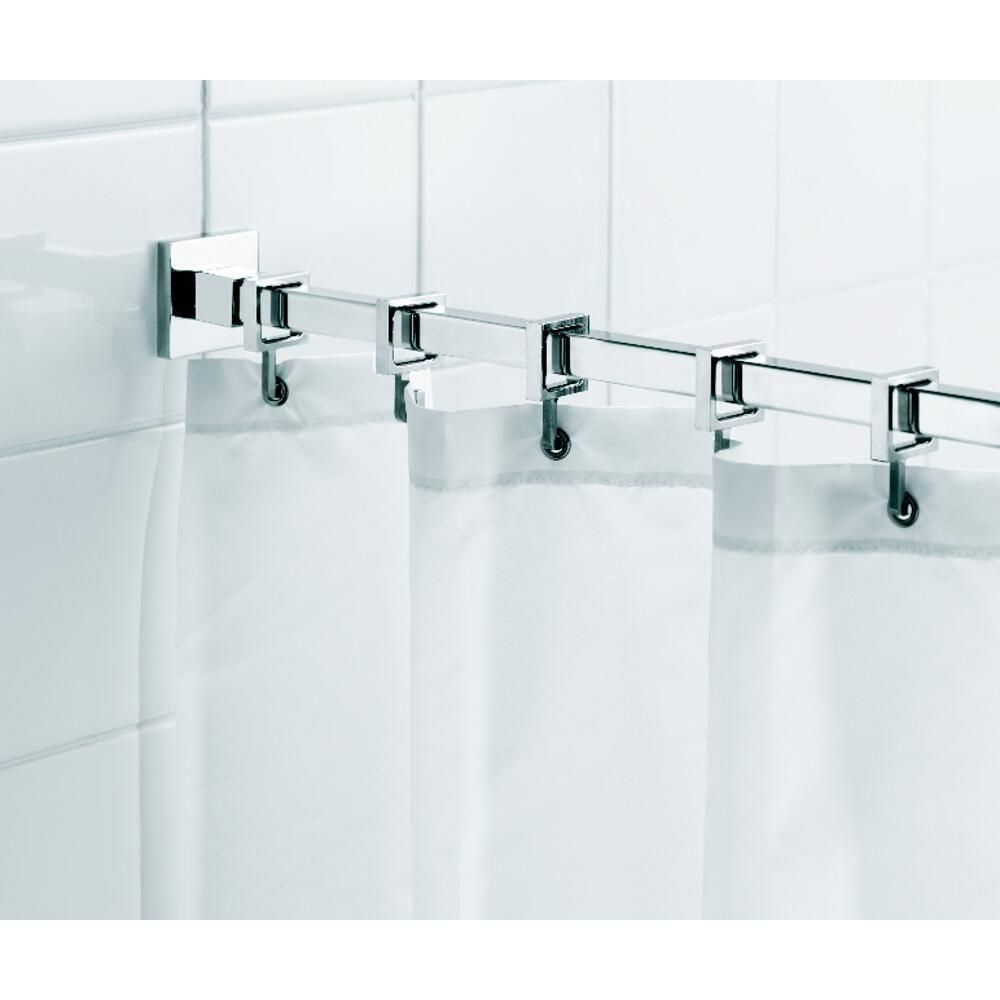 Croydex Square 98 4 In L Luxury Shower Curtain Rod With Curtain Hooks In Chrome Ad116441yw Shower Curtain Rods Luxury Shower Curtain Shower Curtain Hooks