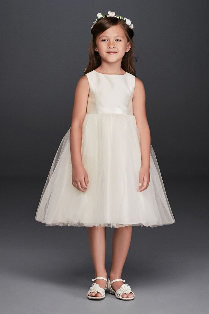 cabb67bfbe2f Flower Girl Dress with Tulle and Ribbon Waist Style OP218