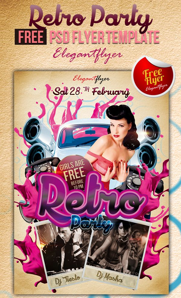 31 Free PSD Party \ Club Flyer Templates Flyer template, Graphic - retro flyer templates