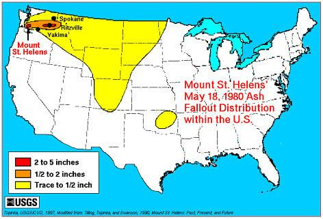 Mt St Helens Washington Map.How Far Did The Ash Travel From The Mount St Helens Eruption Mt