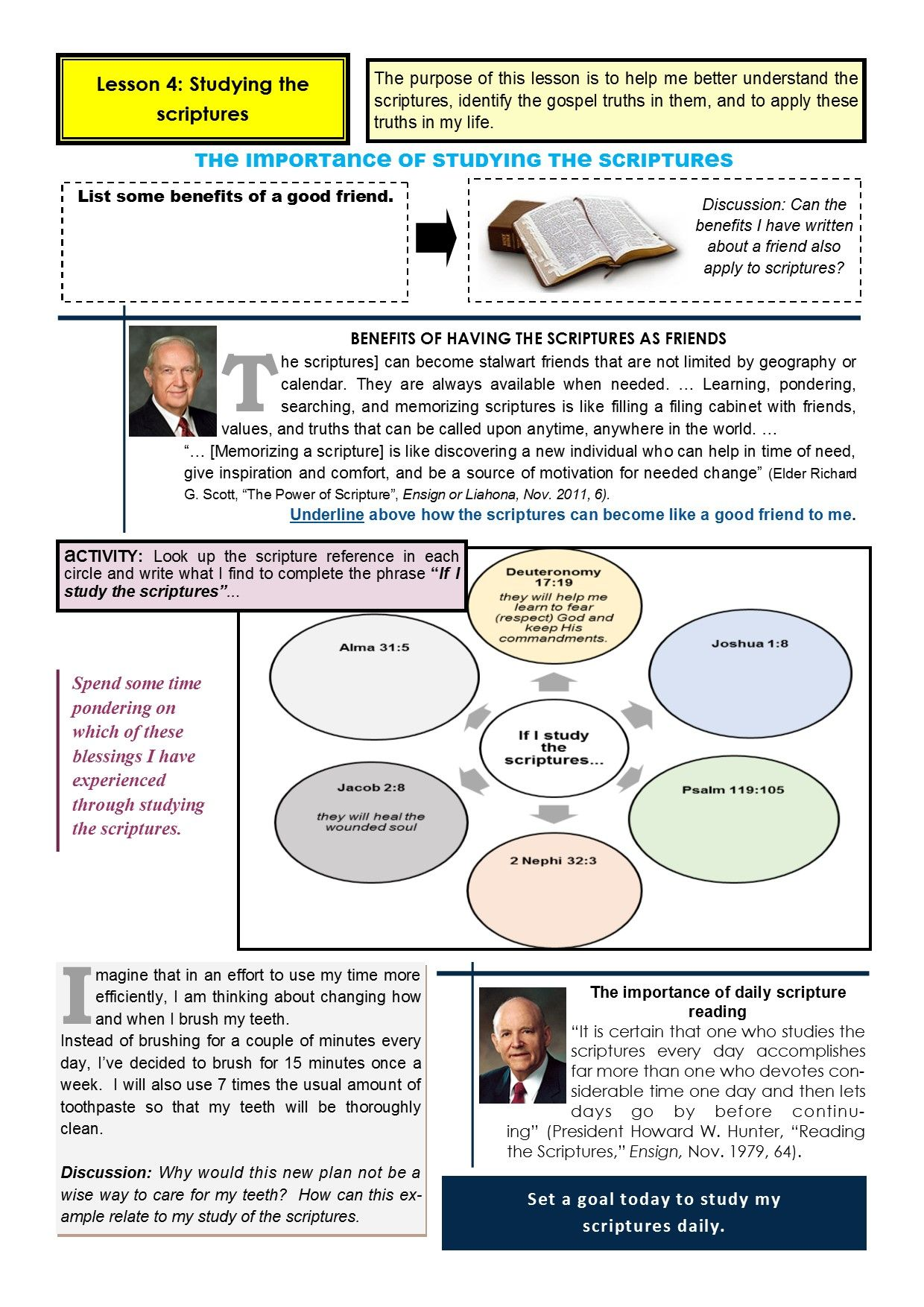 Old Testament Seminary Lesson 4 Worksheet Page 1
