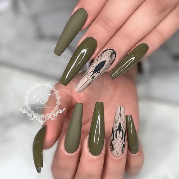 31 Fall Nail Ideas Green Nail Designs Coffin Nails Designs Green Nails