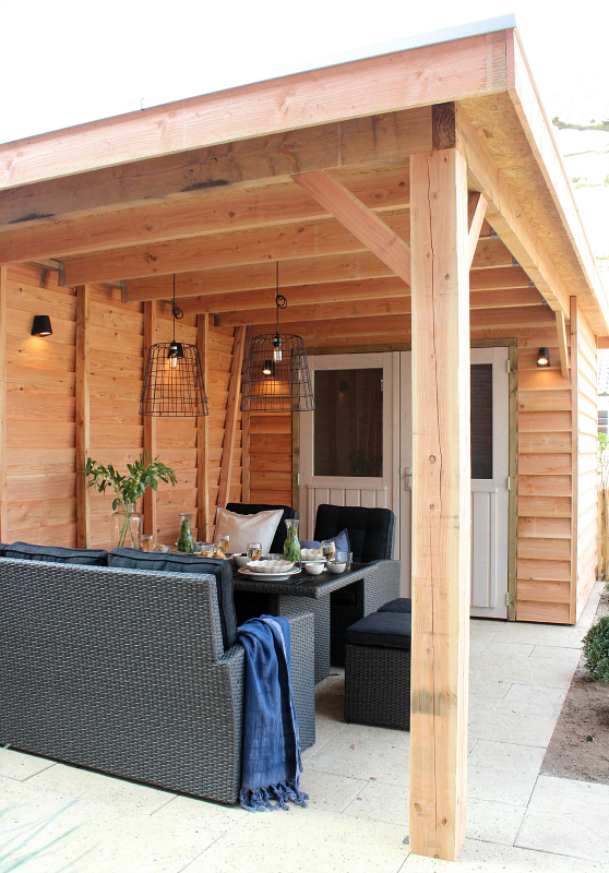 Een overkapping en schuur in n eigen huis tuin for Bouwtekening veranda eigen huis en tuin