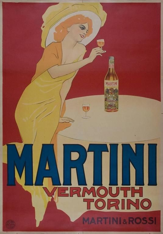Art Deco Poster VERMOUTH BIANCO MARTINI /& ROSSI Italy by Marcello Dudovich