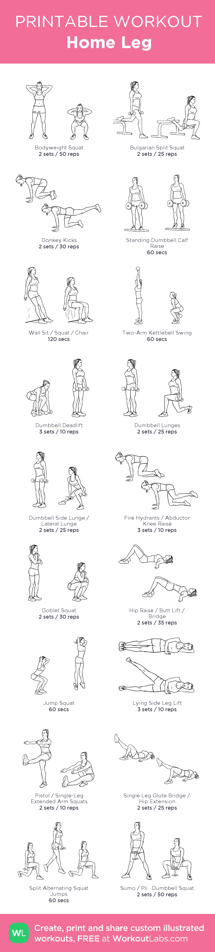 Home Leg: my visual workout created at WorkoutLabs.com • Click through to customize and download as a FREE PDF! #customworkout