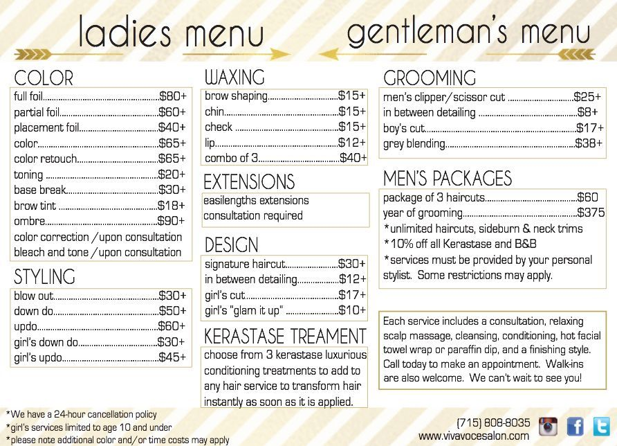 "Hair Stylist Or Barber Services Menu / Salon Price List - 5"" X 7"