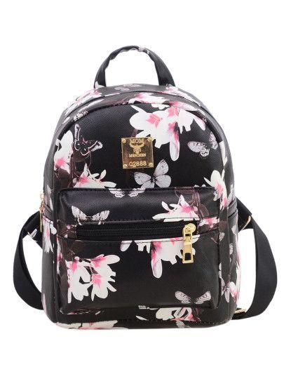 8045aa8b1734 Allover Vintage Flower Print Backpack - Black