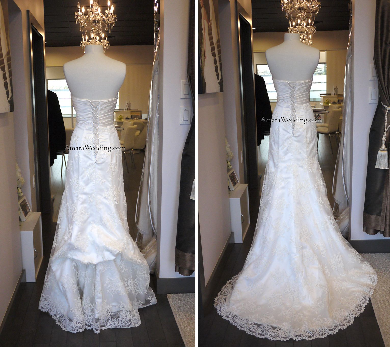 French bustle on lace wedding dress