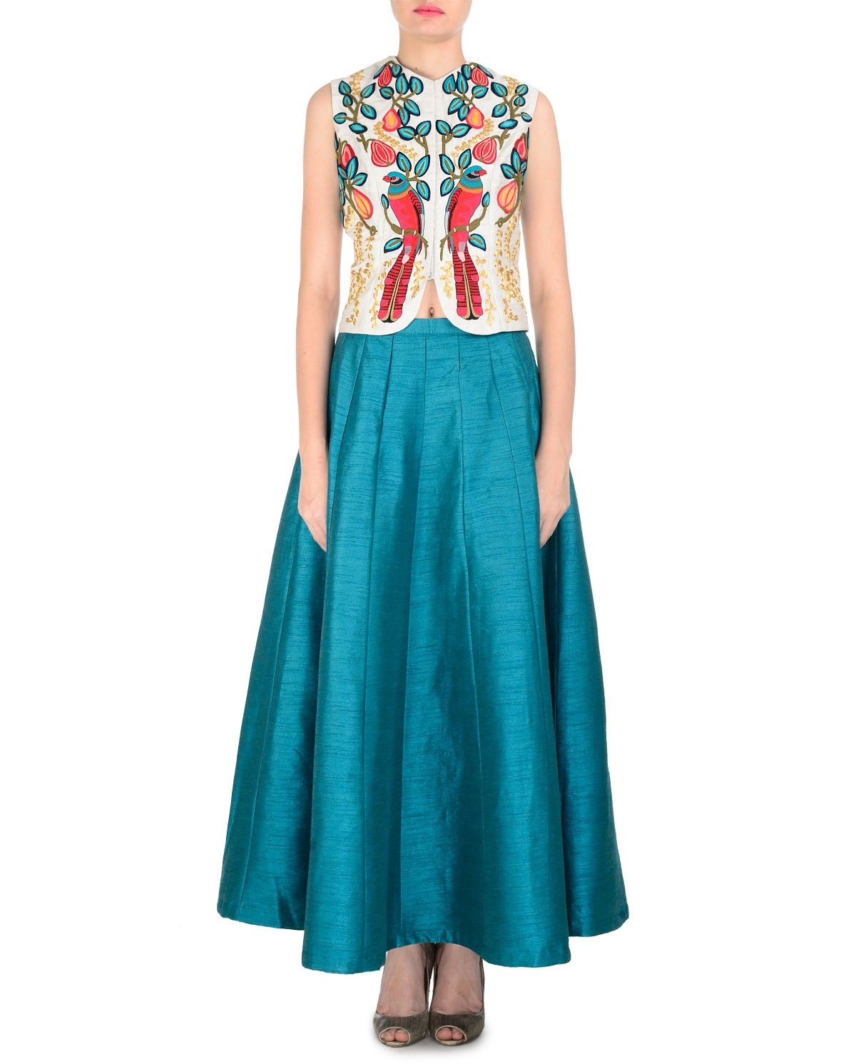 Ivory Bird Embroidered Waistcoat With Plain Teal Skirt