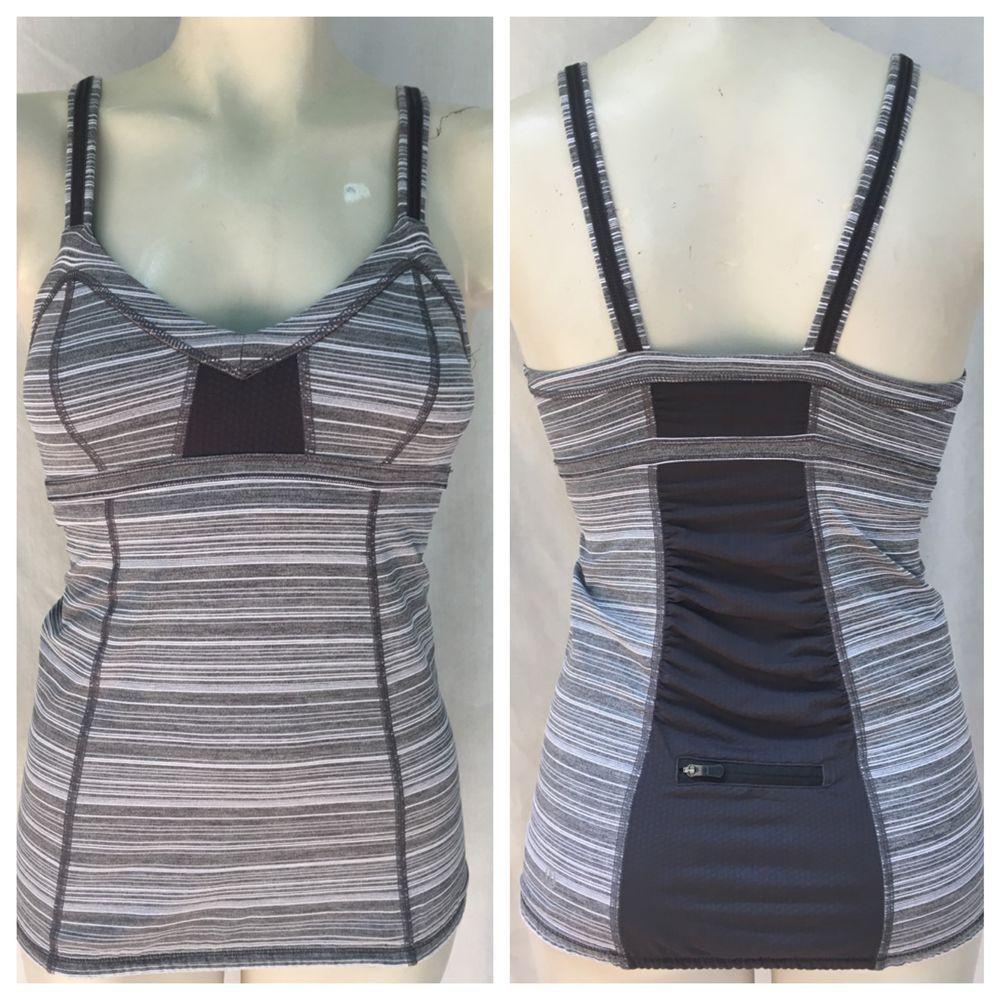 Lululemon Gray White Striped V Neck Yoga Running Shirt Tank Top Sz 4 | eBay