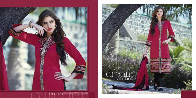 Flashy Deep Pink and Black Designer Salwar Kameez. You feel ethnic when you adorn this beautifully designed Cotton & Chiffon Salwar Kameez with Embroidered work. As shown as bottom and dupatta come with. #wholesaleclothing, #wholesalesellers, #wholesalesalwarsuits, #designersalwarsuits