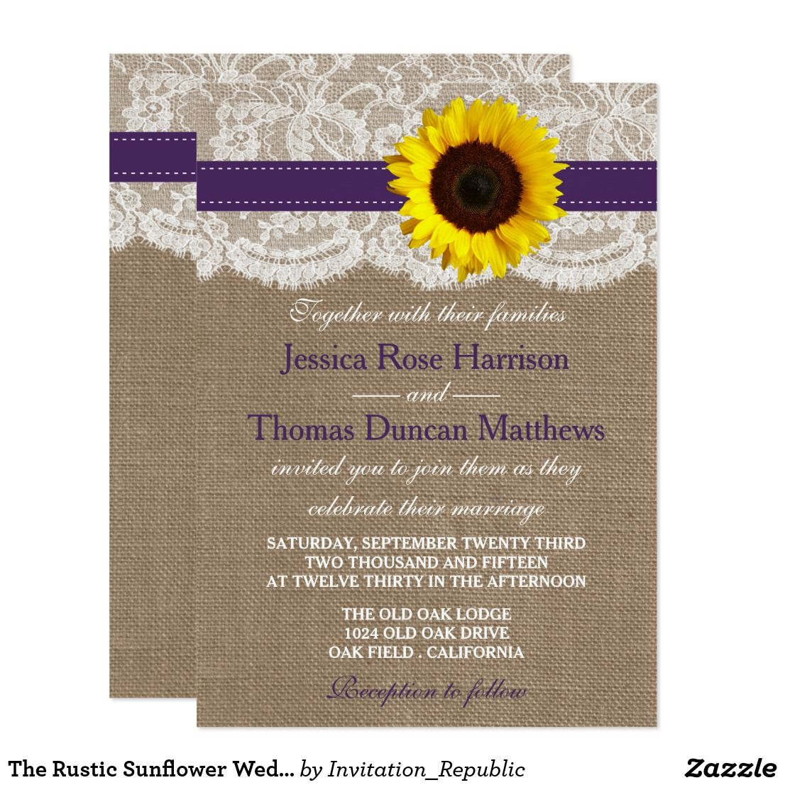 The Rustic Sunflower Wedding Collection Purple Invitation