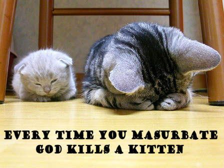 Every time you masturbate you kill a kitten