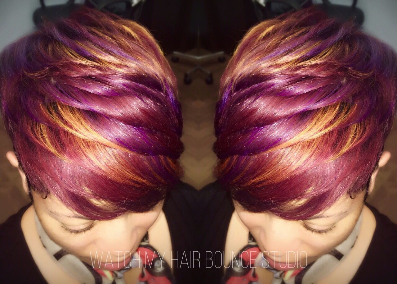 Short Natural Red Hair With Purple Highlights Purple Hair Highlights Natural Red Hair Hair Styles
