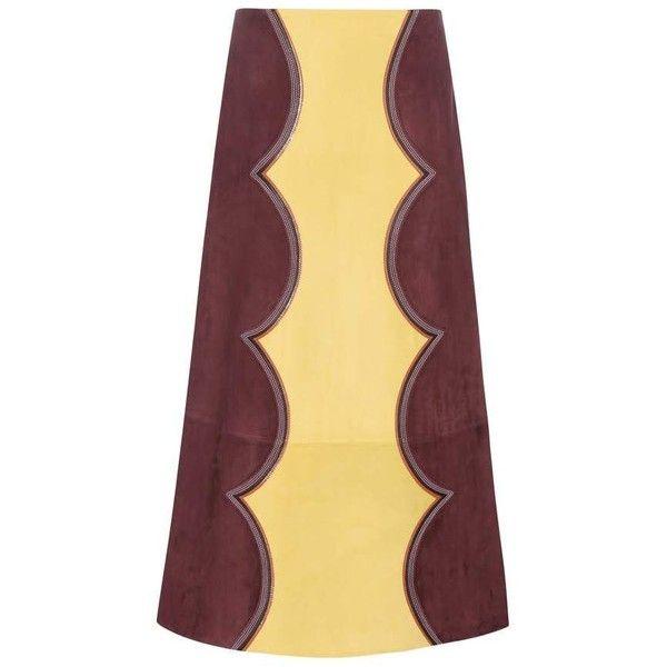 Marni Suede Midi Skirt ($3,725) ❤ liked on Polyvore featuring skirts, purple, suede midi skirt, beige midi skirt, beige skirt, marni skirts and mid-calf skirt