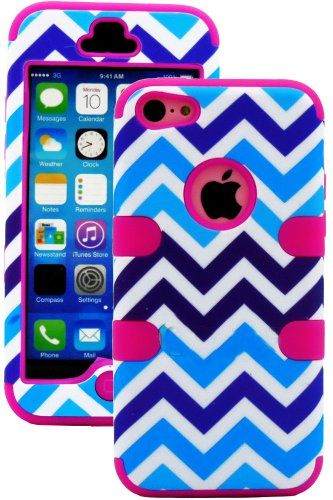 """myLife Hot Pink + Blue and White Chevron 3 Layer (Hybrid Flex Gel) Grip Case for New Apple iPhone 5C Touch Phone (External 2 Piece Full Body Defender Armor Rubberized Shell + Internal Gel Fit Silicone Flex Protector) """"Attention: This case comes grip easy smooth silicone that slides in to your pocket easily yet won't slip out of your hand"""" myLife Brand Products http://www.amazon.com/dp/B00IUXJPNC/ref=cm_sw_r_pi_dp_JIuoub0VQG8HR"""