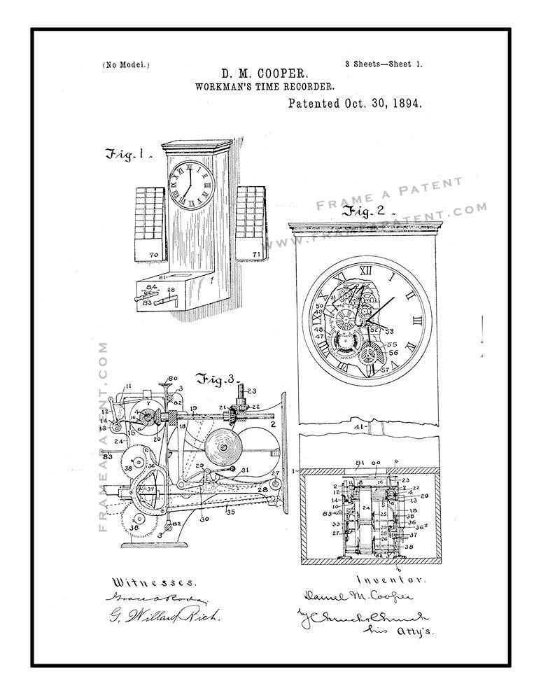Workman\u0027s Time Clock Patent Print - Black Ink on White with Border
