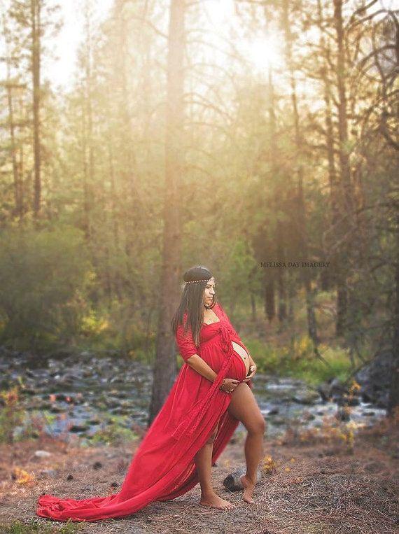 f6f0175ec Split rojo gasa vestido de maternidad largo por BoutiqueByAgnes ...