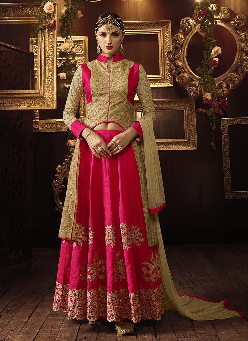 Designer salwar kameez mesmeric peach color net designer suit - Buy Beige And Dark Pink Color Net And Mellisa Silk Party Wear Lehenga Choli At Kollybollyethnics
