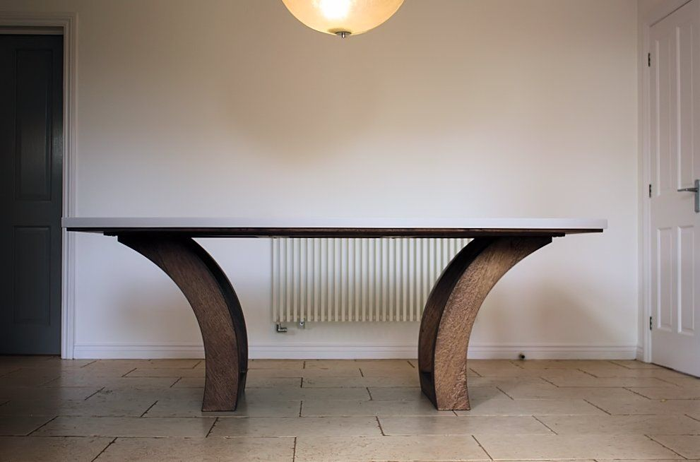 Good Corian And Dark Oak Dining Table