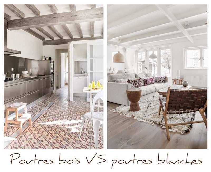 poutres teinte bois ou poutres peintes en blanc   salons