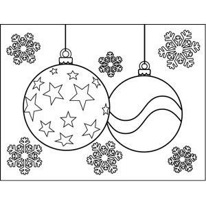 Two Christmas Tree Ornaments Decorated In Stars And Patterns Dangle Among Snowflakes In This Printa Star Coloring Pages Snowflake Coloring Pages Coloring Pages