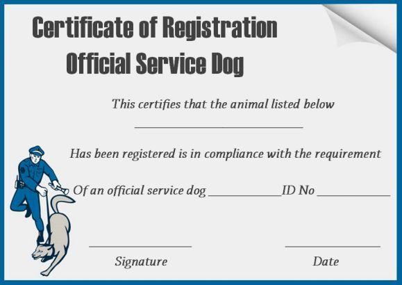 service dog certificates template free | service dog certificate
