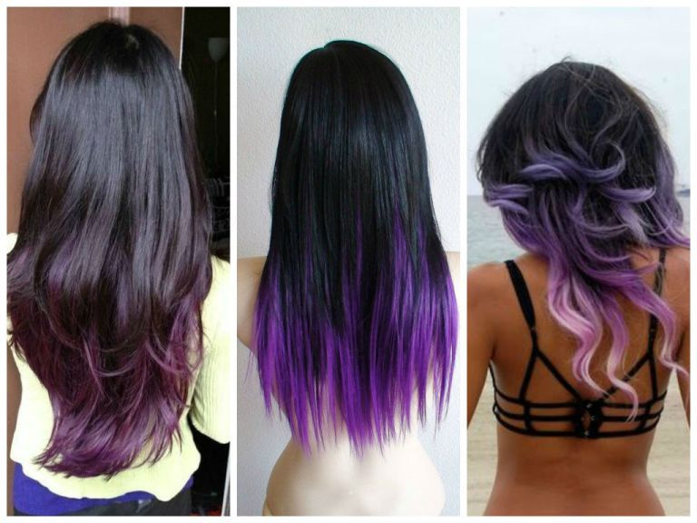 Black Hair Purple Highlights Pictures Hair Pinterest Purple