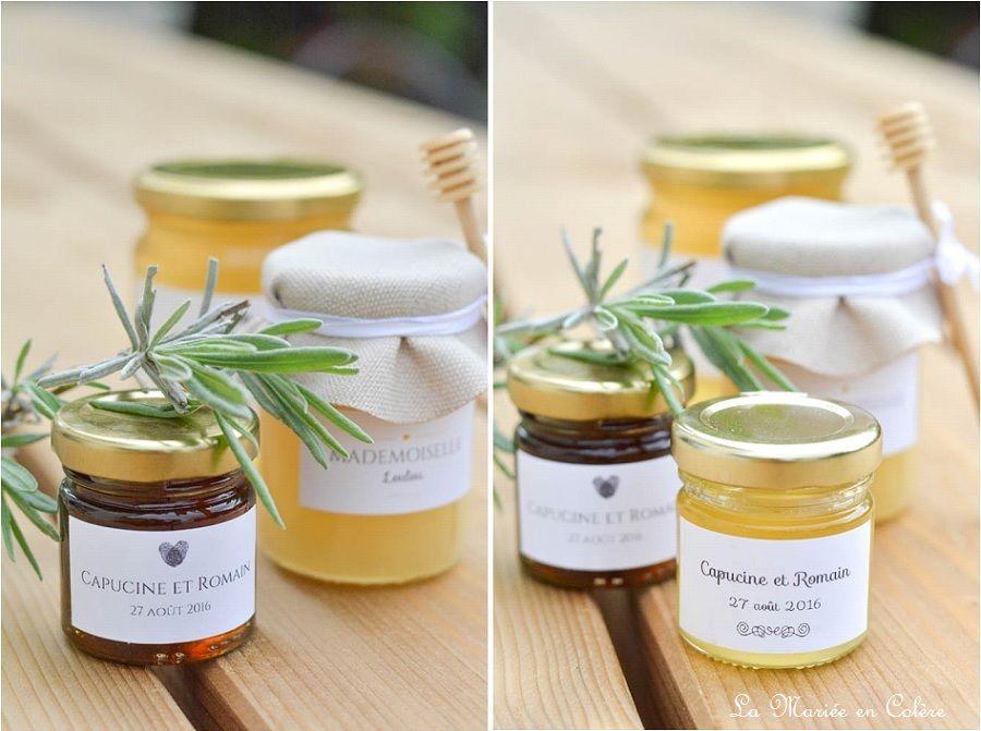 Cadeau pour les invit s les petits pots de miel pot de miel en col re et les invit s - Idee cadeau invite mariage ...