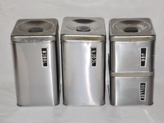 Stainless Steel Canister Set Vintage Chrome Canisters Set Of 4 Flour Sugar Coffee Te Stainless Steel Canister Set Silver Canister Set Stainless Steel Canisters