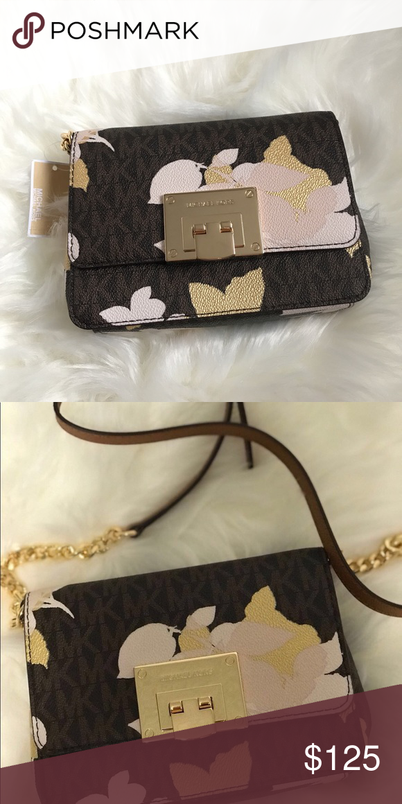 MK-Tina- cross body  clutch MK mini clutch Cross body Brown with floral  designs Michael Kors Bags Clutches   Wristlets 1aa093c41b