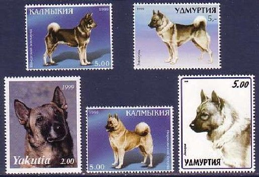 Norwegian Elkhound Dogs 5 Different Mnh Stamps Noel06 Norwegian