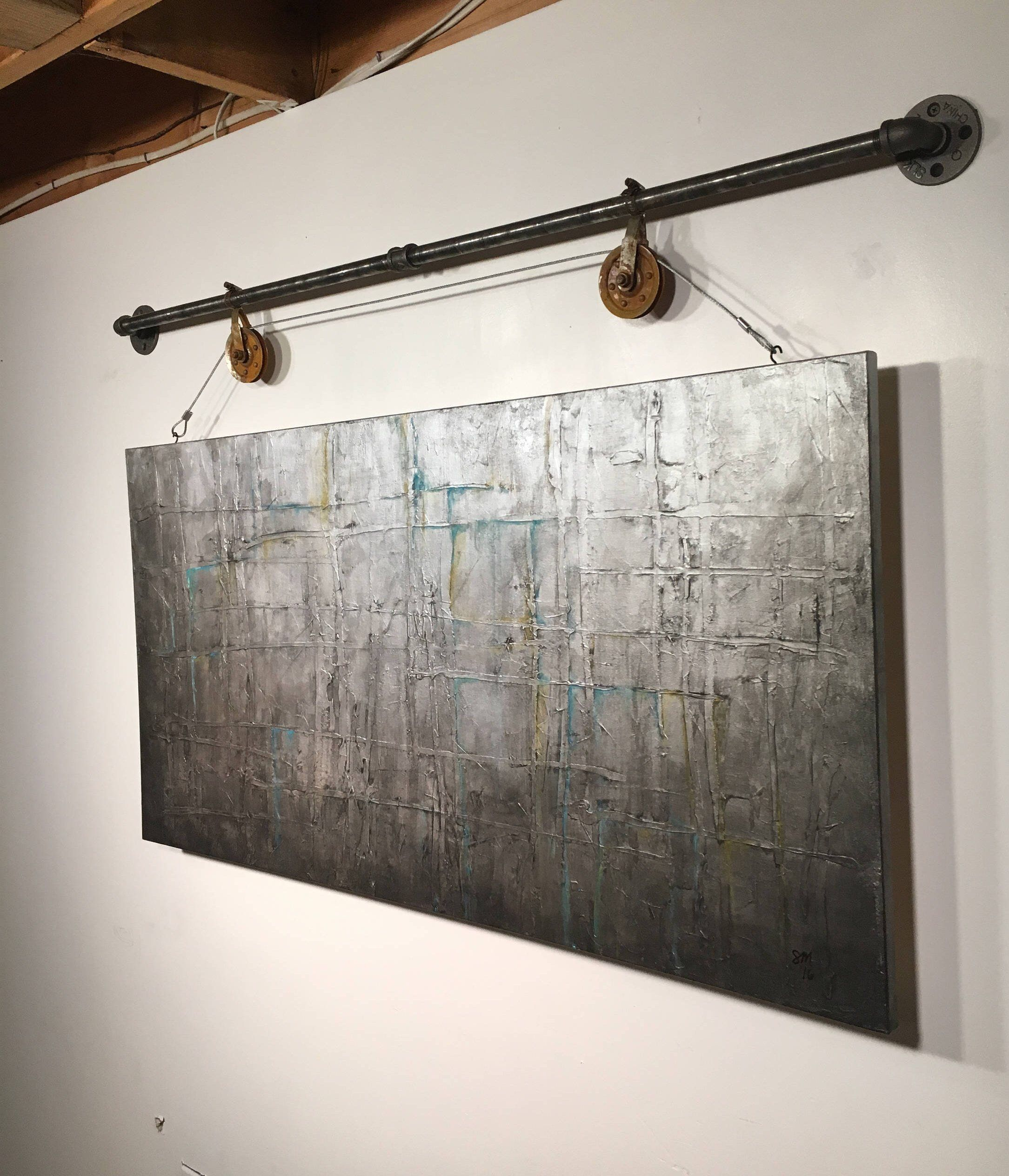 Abstract Painting Acrylic Wall Art Original Art Industrial Gift